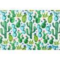 Kaktusy zielone na białym tle - tkanina bawełniana