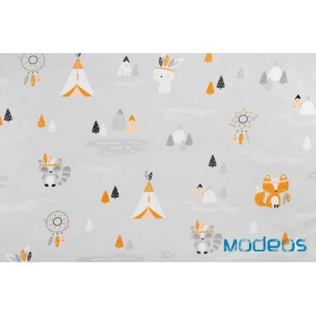 Liski łapacze snów namiot tipi na szarym tle - materiał bawełna