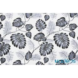 Bawełna grafitowe liście palmy monstera na białym - materiał tkanina