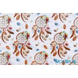 Bawełna łapacze snów na białym tle - materiał tkanina