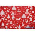 Bawełna renifery bałwanki na czerwonym - tkanina świąteczna