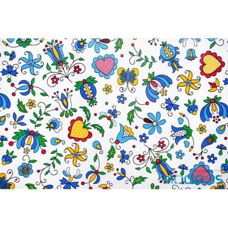 Tkanina kaszubska bawełna wzór kaszubski na białym tle - materiał