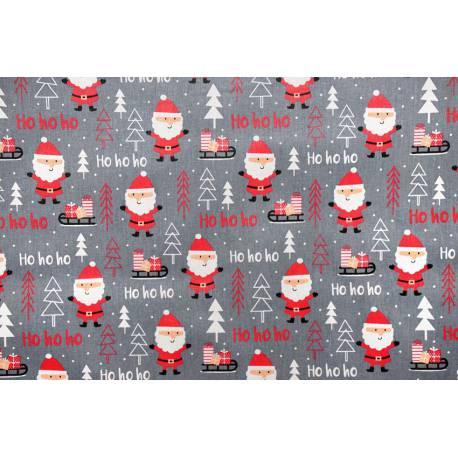 Bawełna mikołaje na ciemnym szarym tle - tkanina świąteczna