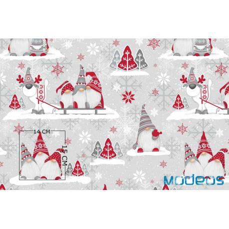 Bawełna skrzaty renifer na szarym tle tkanina świąteczna