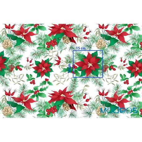 Bawełna gwiazda betlejemska materiał tkanina świąteczna