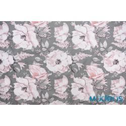 Bawełna róże na szarym tle kwiaty - materiał tkanina