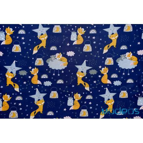 Bawełna lisy z gwiazdkami na granacie - materiał tkanina