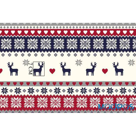 Materiał świąteczny renifery - tkanina wzór skandynawski