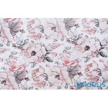 Materiał w kwiaty róże na białym tle - bawełna tkanina