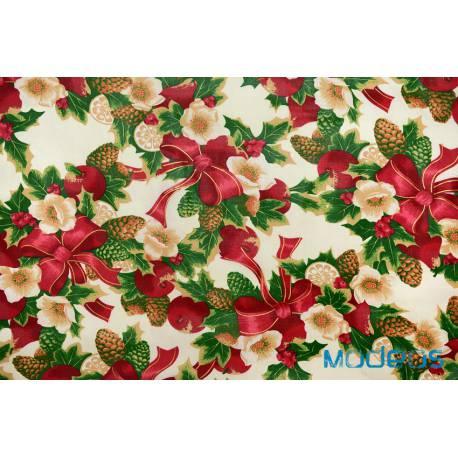 Materiał świąteczny złocony stroik - tkanina bawełna