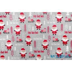 Bawełna mikołaje na szarym jasnym tle - materiał świąteczny