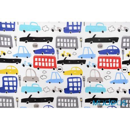 Materiał kolorowe auta samochody pojazdy - bawełna tkanina