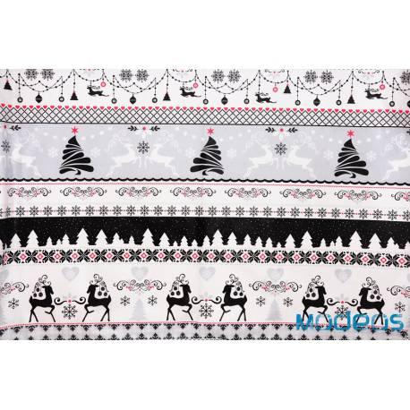 Bawełna renifery choinki szare czarne materiał świąteczny