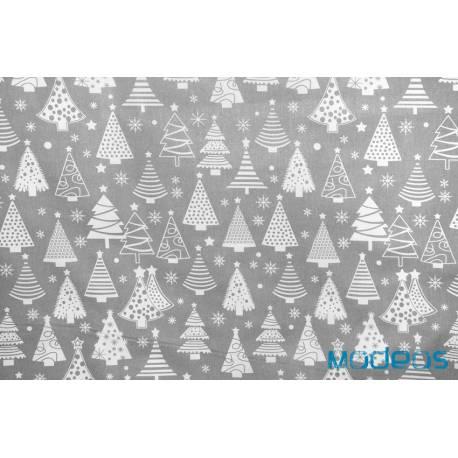 Materiał szare choinki na białym tle - tkanina świąteczna bawełna