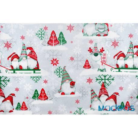 Bawełna skrzaty zielone czerwone świąteczna tkanina bawełniana
