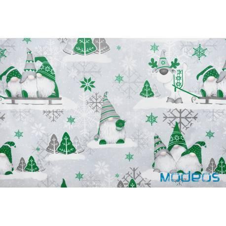 Bawełna skrzaty zielone na szarym tle tkanina świąteczna