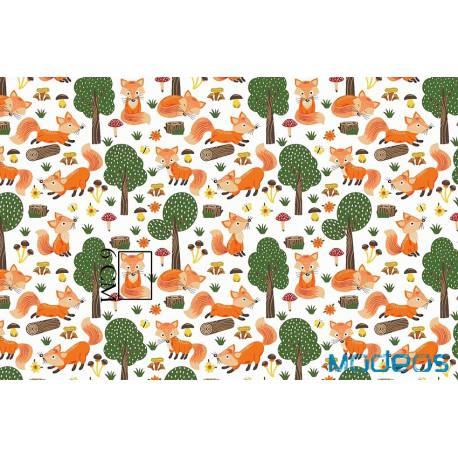 Materiał lisy w lesie bawelna tkanina