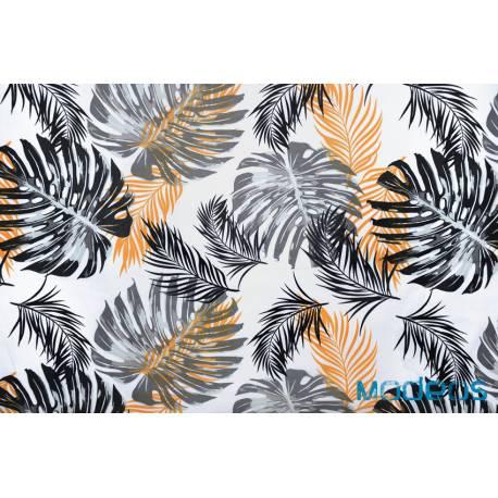 Tkanina liscie palmy monstera czarne musztardowe materiał