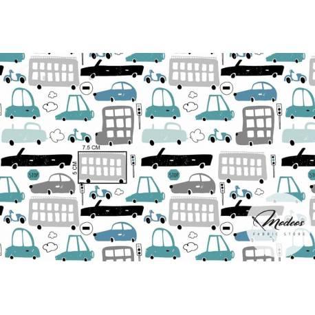 Pojazdy, auta pastelowe - tkanina bawełna premium basic