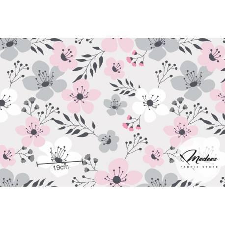 Materiał w kwiaty, tkanina w szare różowe kwiatki