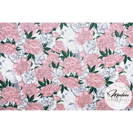 Materiał w kwiaty, peonie i papugi - bawełna tkanina