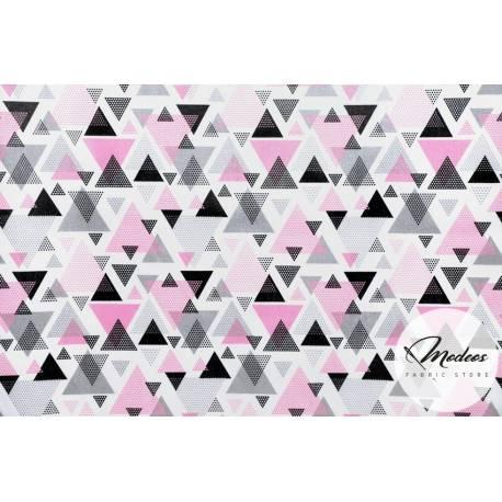 Materiał trójkąty różowe, kryształki szare czarne