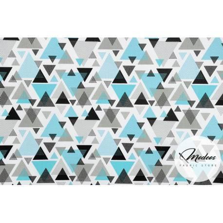 Materiał trójkąty turkusowe, kryształki niebieskie szare czarne
