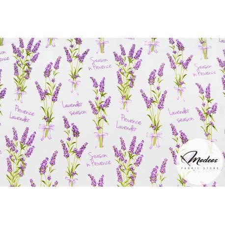 Tkanina w kwiaty, lawenda - materiał bawełna