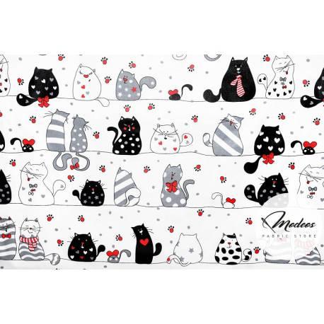 Szalone koty z czerwonym na białym tle - tkanina bawełniana