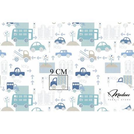 Materiał samochody auta niebieskie - bawełna tkanina ulice