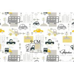 Tkanina samochody auta żółte szare - bawełna ulice
