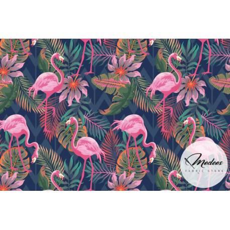 Materiał flamingi liście monstera na granatowym - tkanina