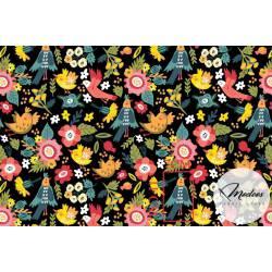 Materiał kwiaty ptaszki na czarnym tle - bawełna tkanina