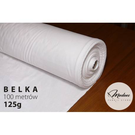 Biała tkanina - belka 100m, bawełna, biały materiał 125g