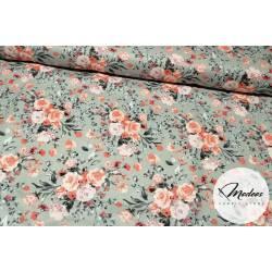 Materiał w kwiaty, bukiet na szarym - tkanina bawełna