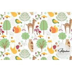 Materiał leśne zwierzęta tipi - bawełna tkanina las