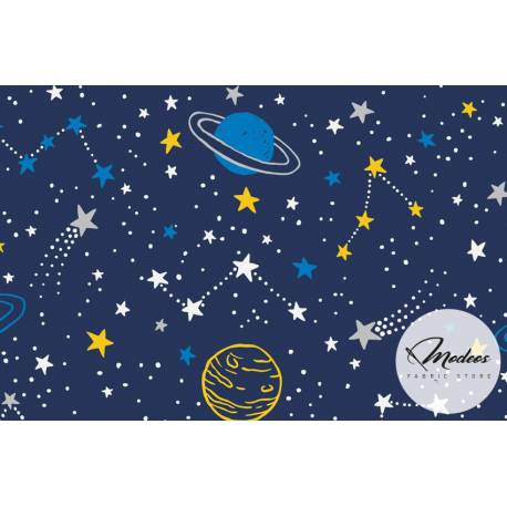 Material kosmos galaktyka żółta na granacie - tkanina