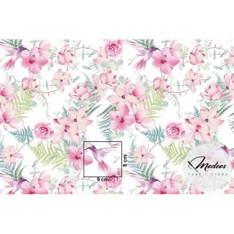 Materiał kwiaty koliber - bawełna tkanina