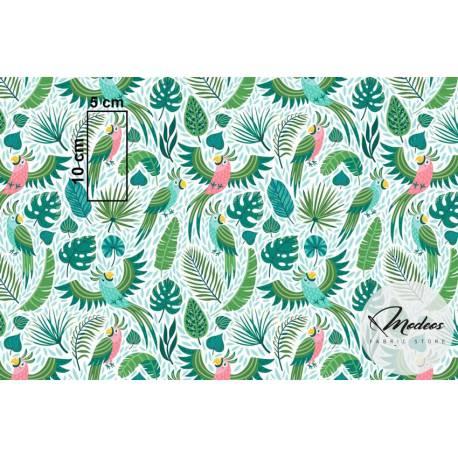 Materiał papugi liście tropikalne - bawełna tkanina