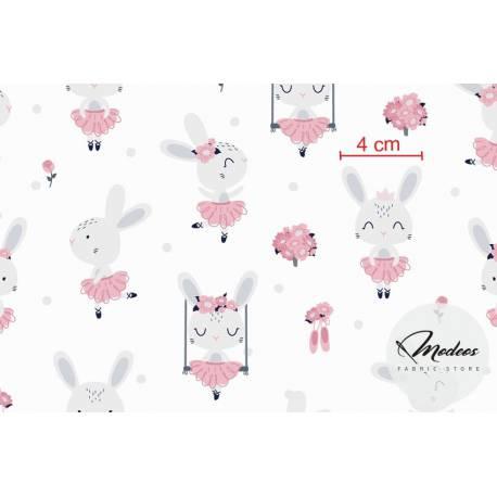 Materiał króliki baletnice na bialym - tkanina bawełna