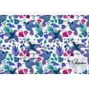 Materiał niebieskie kolibry kwiaty - bawełna tkanina