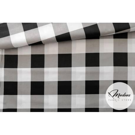 Tkanina krata czarna szara - materiał bawełna