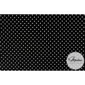 Materiał białe groszki kropki na czarnym tle - bawełna tkanina