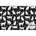 Tkanina białe kotki na czarnym tle - materiał bawełna