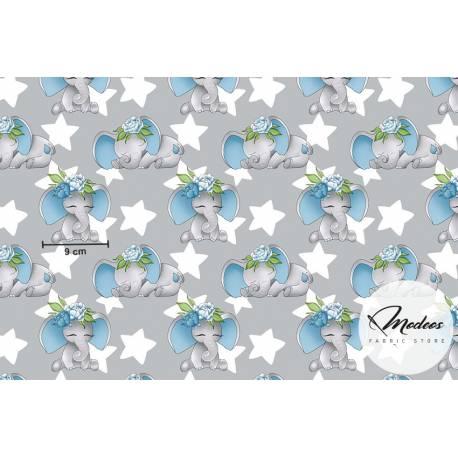 Materiał słonie niebieskie i gwiazdki na szarym - bawełna tkanina