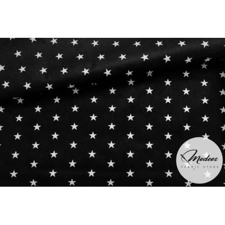 Materiał białe gwiazdki na czarnym tle - bawełna tkanina