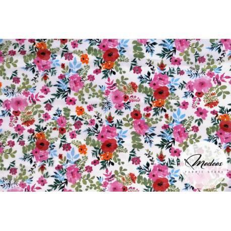 Materiał w kwiaty polne - bawełna tkanina