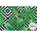 Materiał w liście i czarne romby - tkanina wzór tropikalny