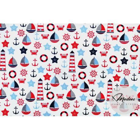 Bawełna bałtyk na białym tle - tkanina wzór marynarski