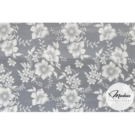 Materiał białe kwiaty na szarym tle - tkanina ricardo